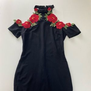 Forever 21 Black Mini Dress w/ Flower Embroidery